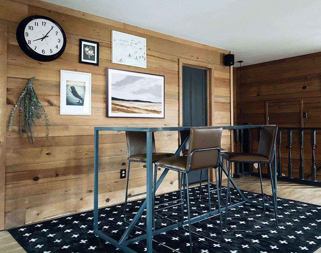Wooden paneling with modern furniture