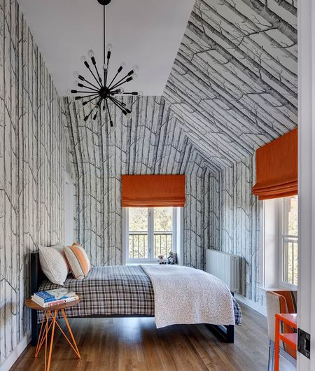 Angled Ceiling With Wallpaper