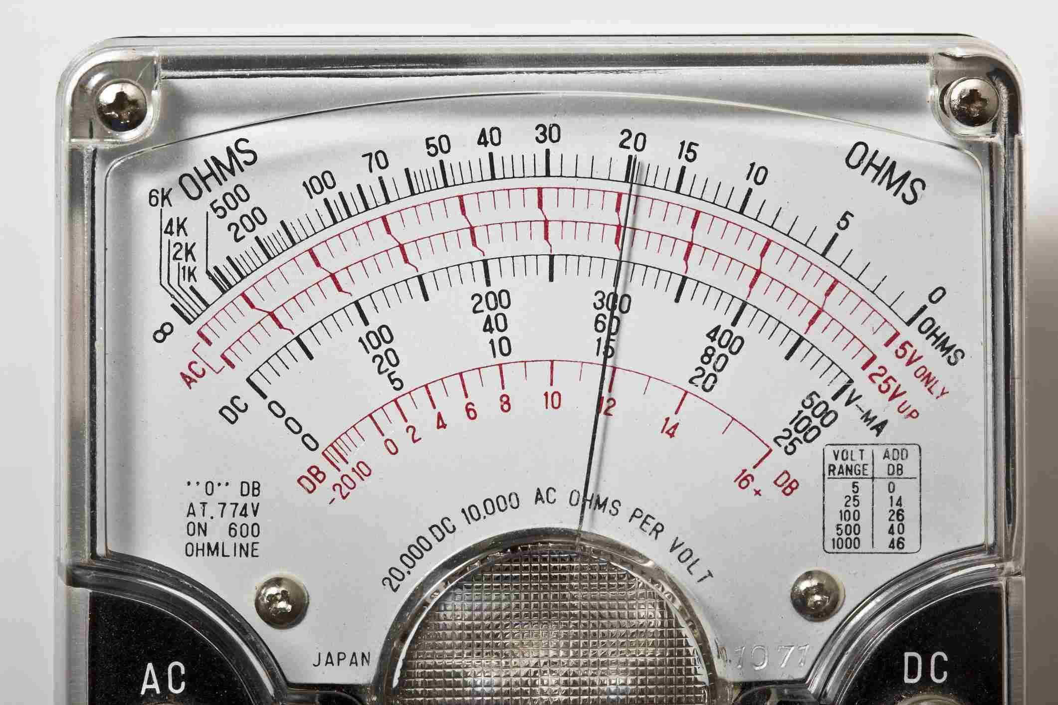 An analog scale volt ohm multimeter