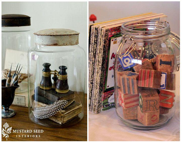 Vintage collections displayed in jars