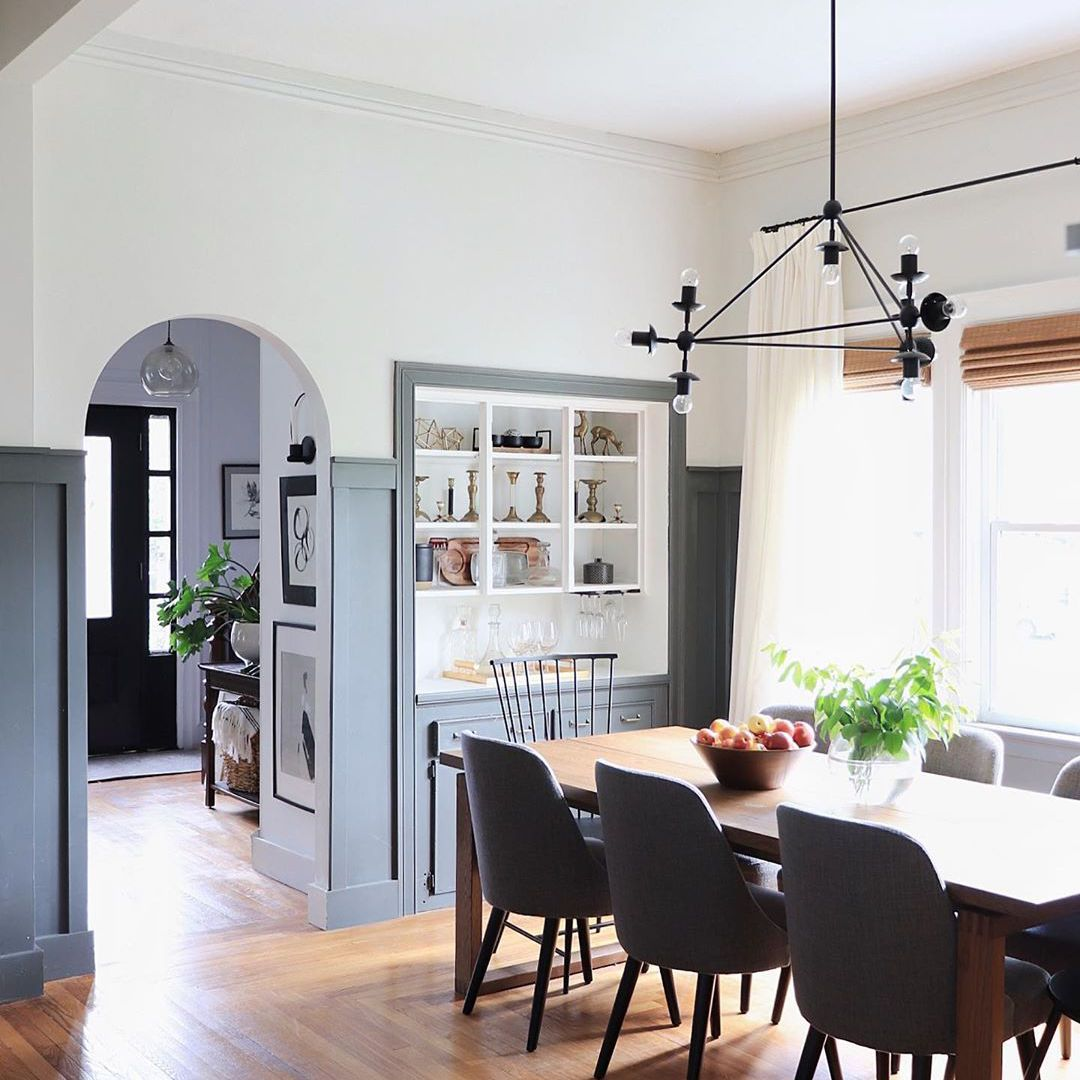 Dining room with dark gray paint