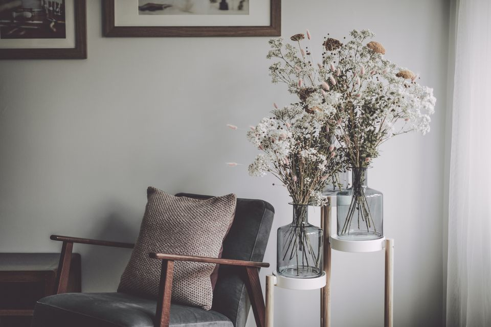 Fall floral arrangements in a living room