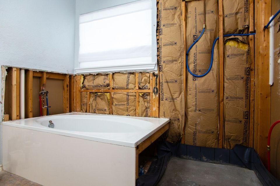 fiberglass insulation in a bathroom