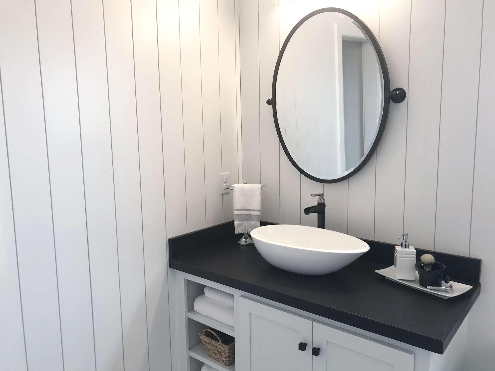 Vertical shiplap in a bathroom