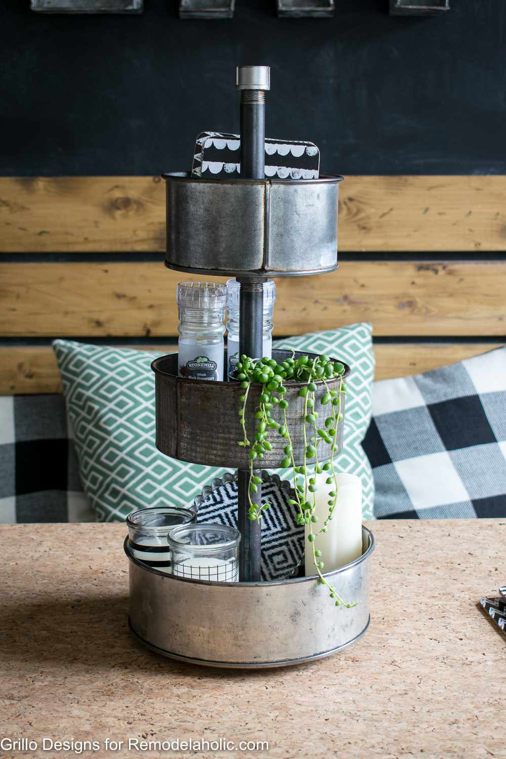 baking pan upcycle tiered tray