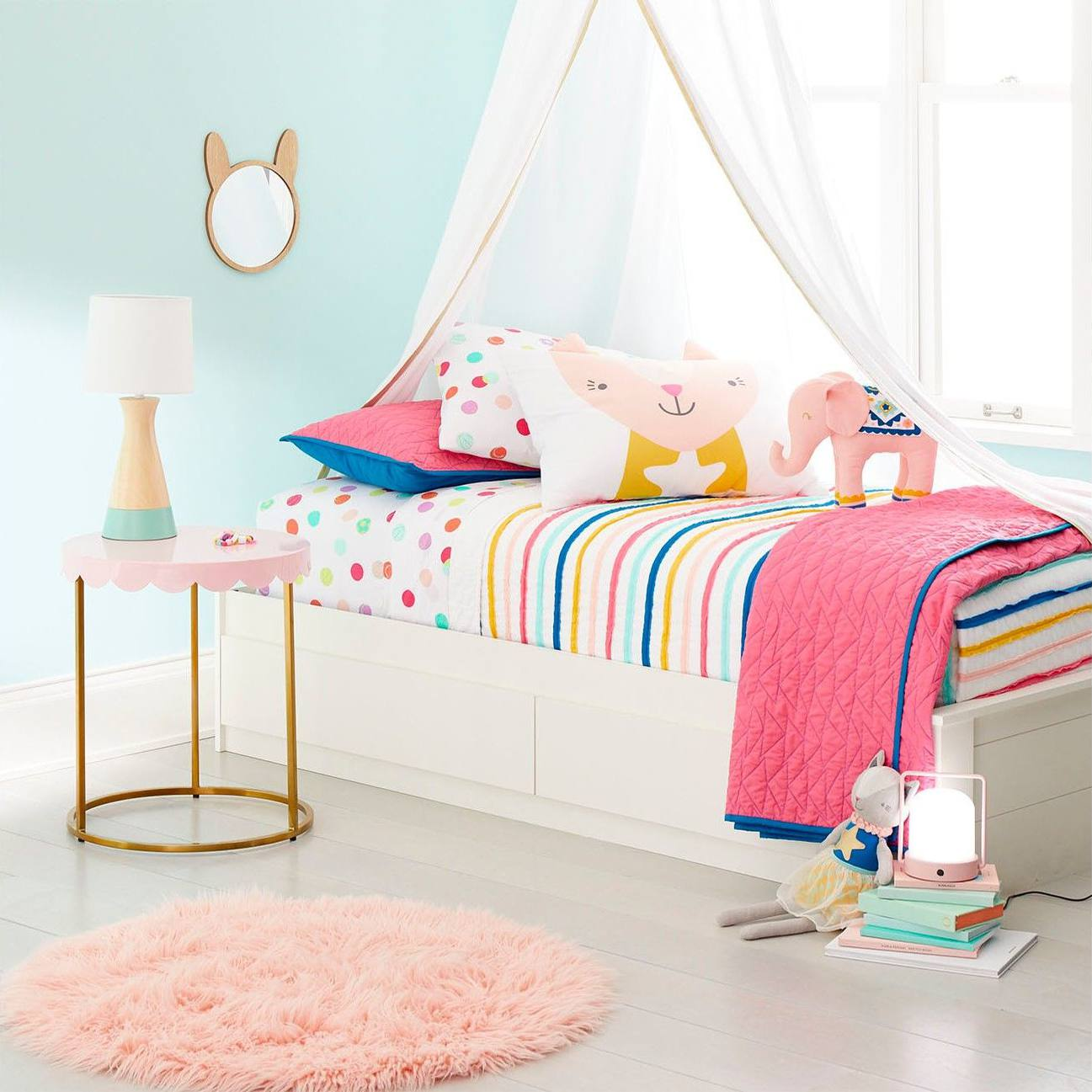 Striped quilt and polka dot bedding from target