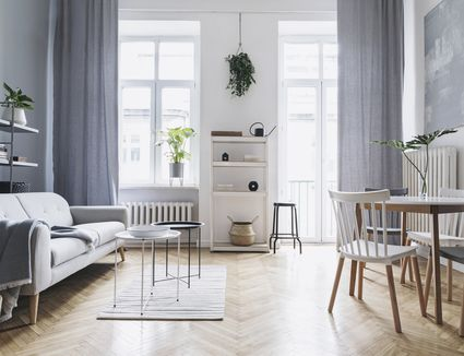 Bright and sunny luxury home interior with design green velvet sofa, furniture, gold coffee tables, pouf, plants and accessroies. Big windows with grey curtains. A variety of comfy seating in the living room for good feng shui