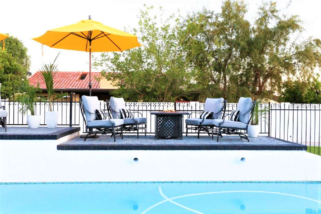 Elevated pool DIY patio
