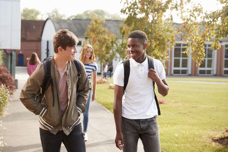 Two teenage boys walking together at school