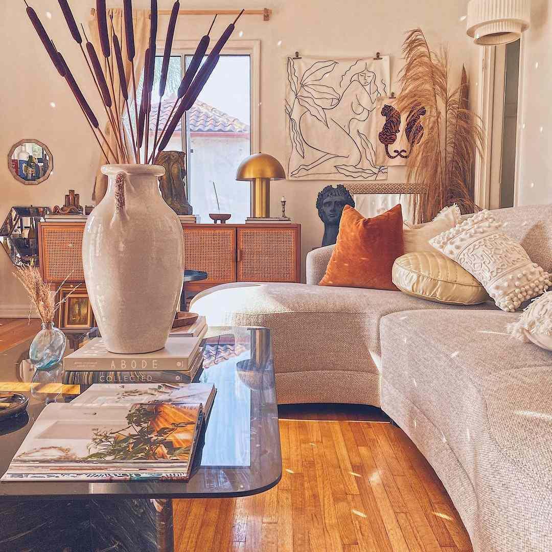 boho living room by lifestyle blogger Lowe Saddler