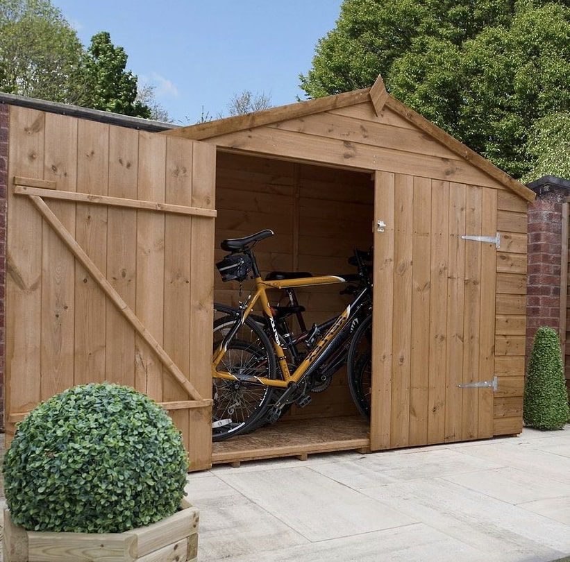a shed with bikes inside