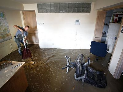 Man cleaning water damage in basement