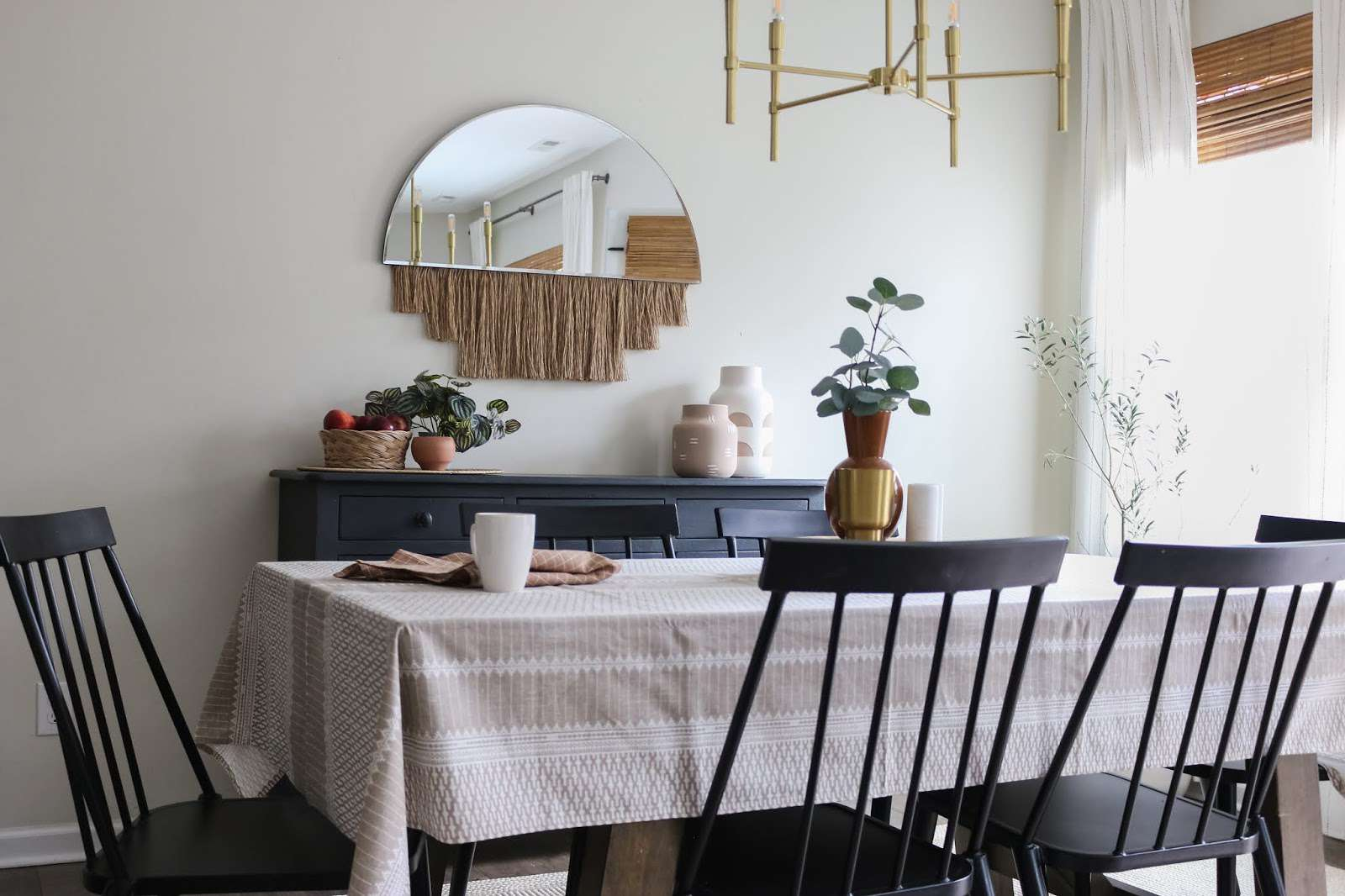 boho mirror dining room windsor chairs