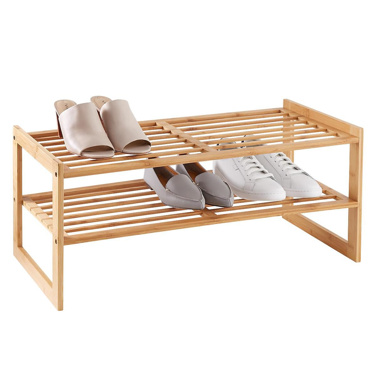 The Container Store 2-Tier Bamboo Stackable Shoe Shelf