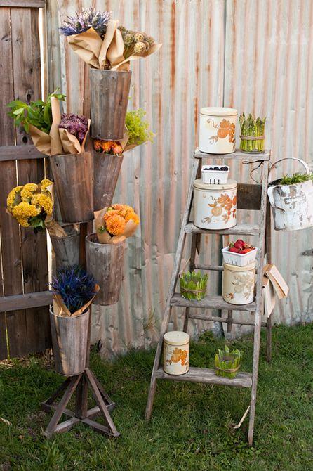 Flores y frutas con un cartel