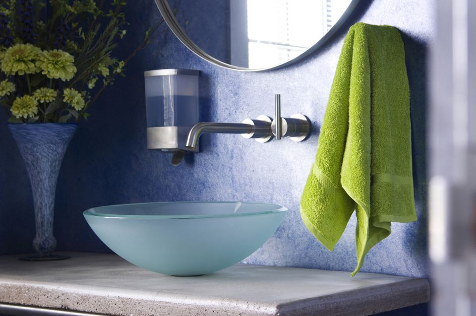 Towel hanging next to sink