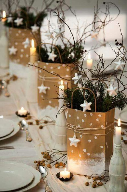 Holiday table with gift bag decor