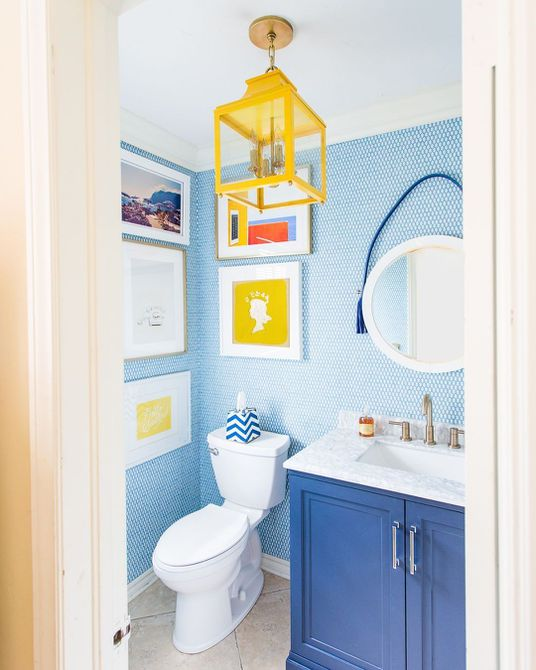 Bright blue and yellow gallery bathroom