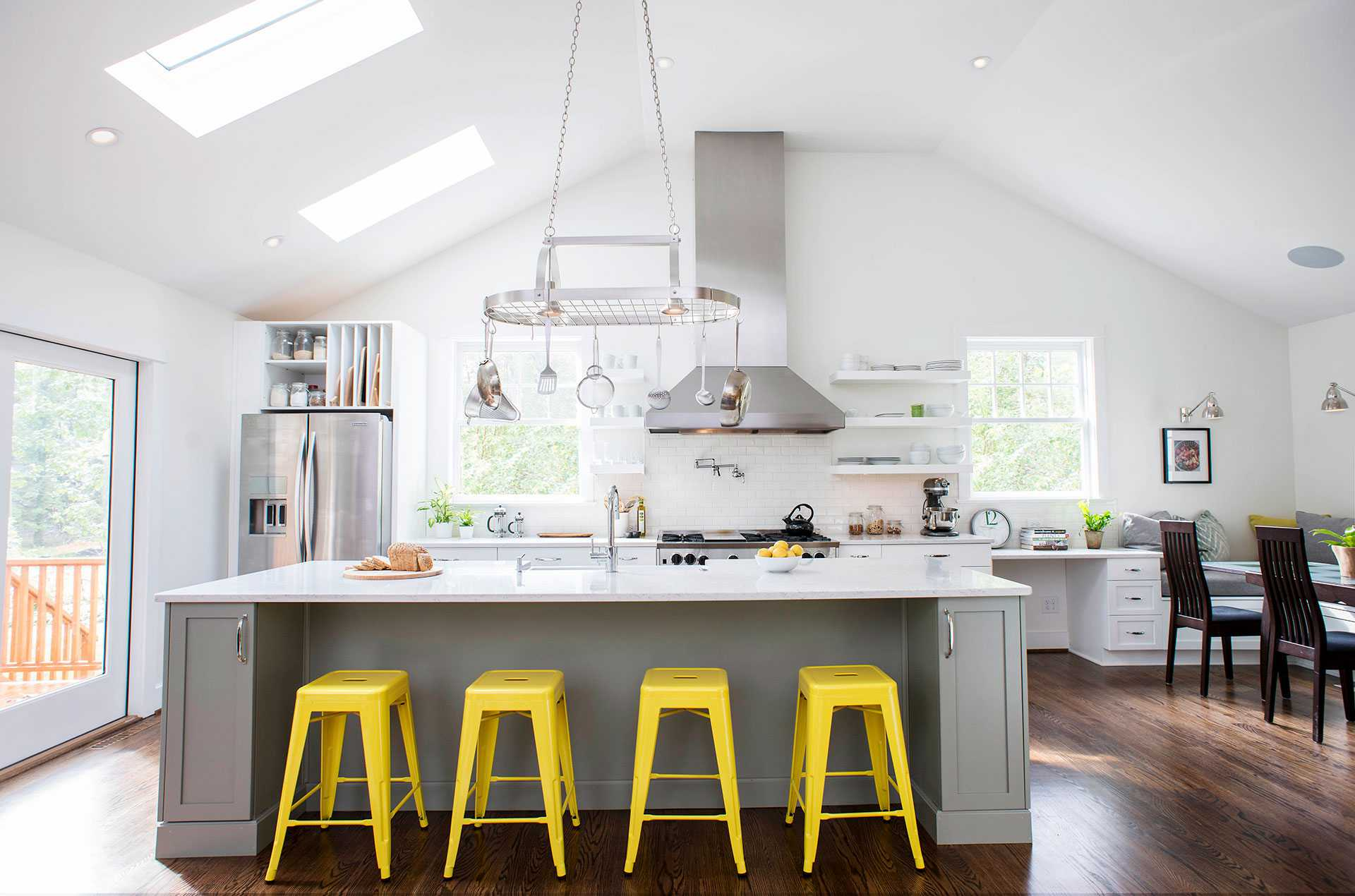 yellow accents in gray and white kitchen