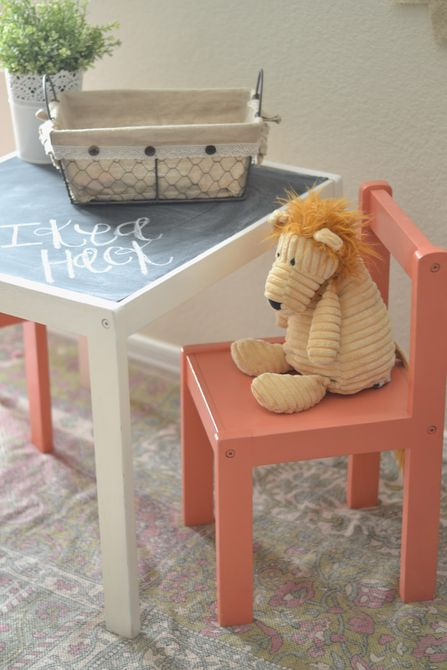 Chalkboard Table IKEA Hack , Pared de acento de pizarra
