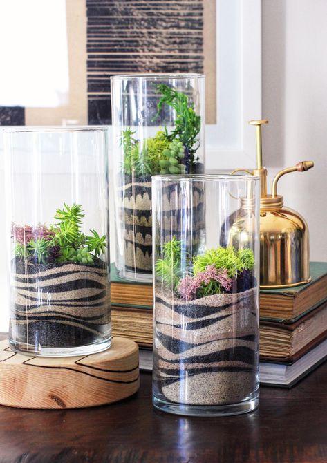 Huracanes de vidrio llenos de arena y plantas