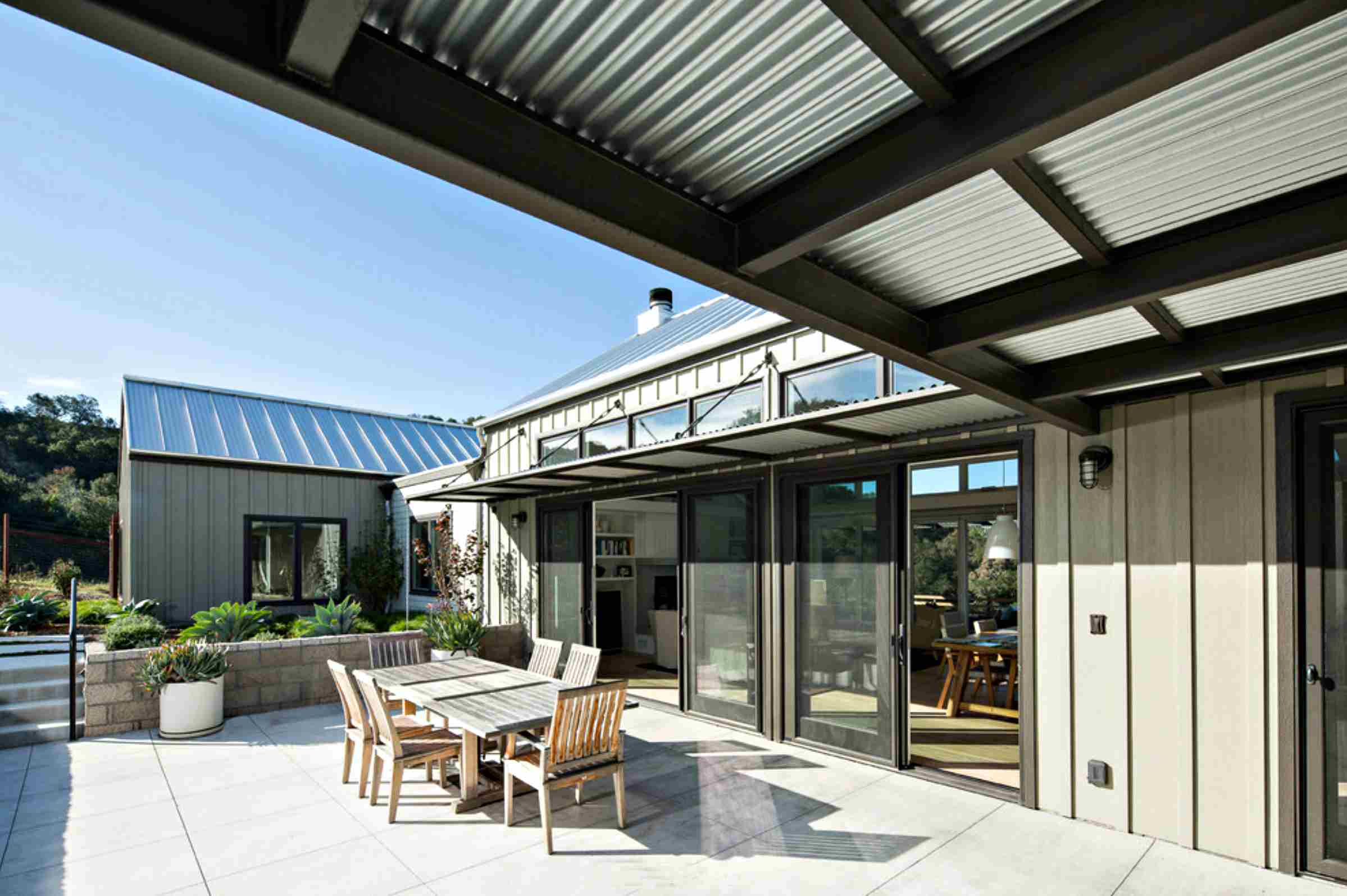 covered patio on industrial house