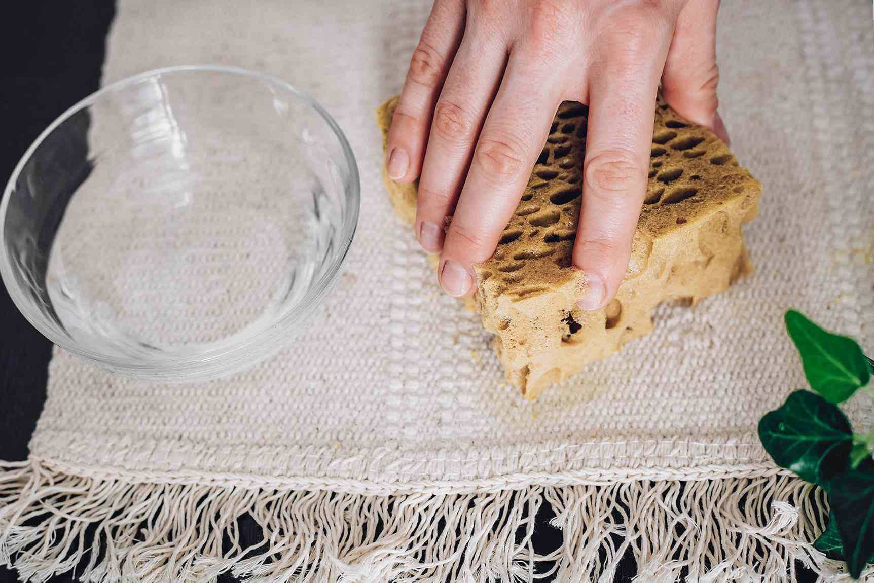 person blotting rug with solvent