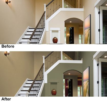 Imágenes de sala de estar antes y después