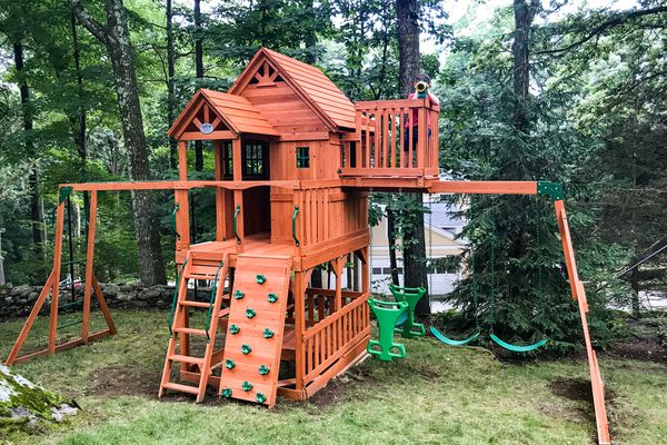 Backyard Discovery Skyfort II Wooden Swing Set