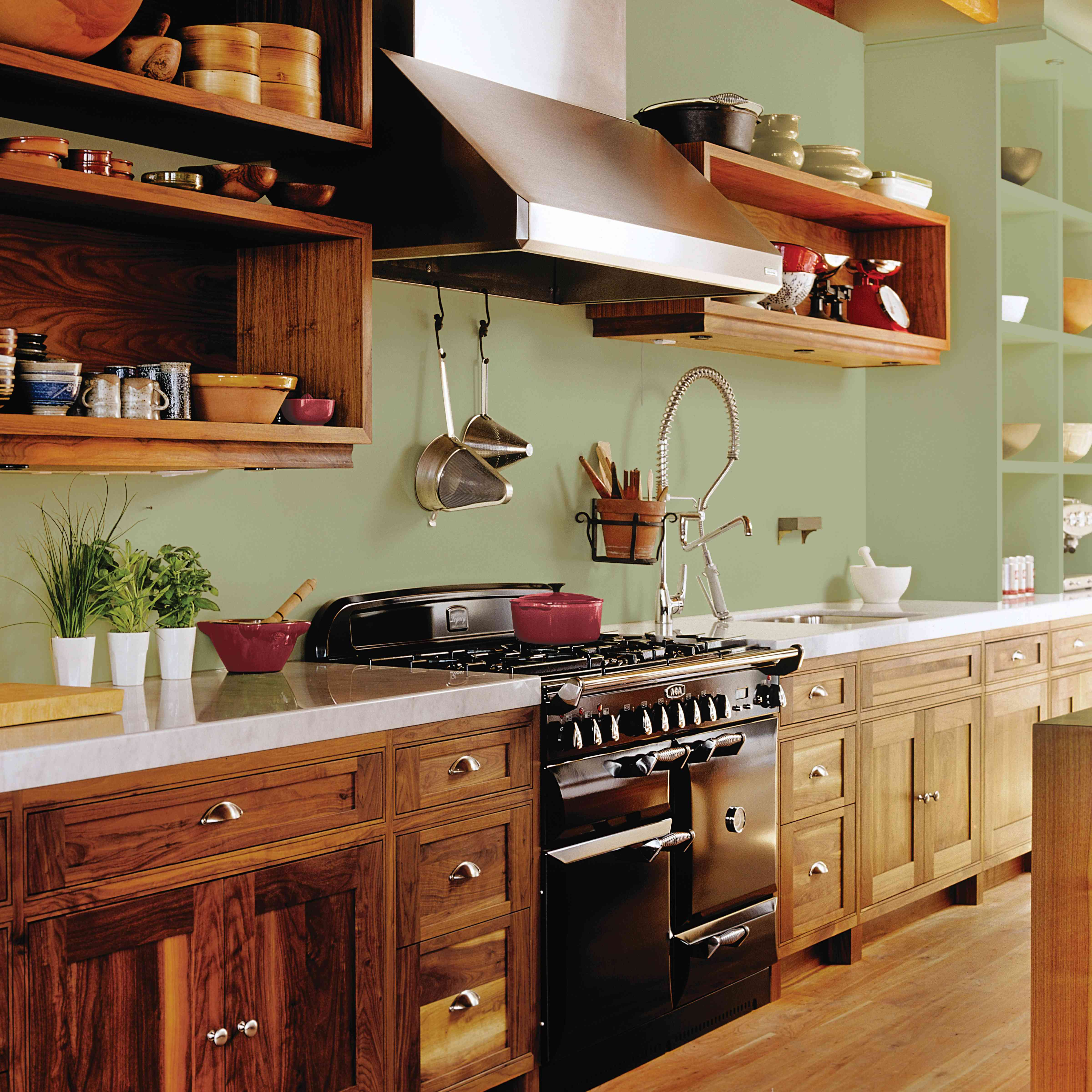 Kitchen painted in Olive Sprig by PPG