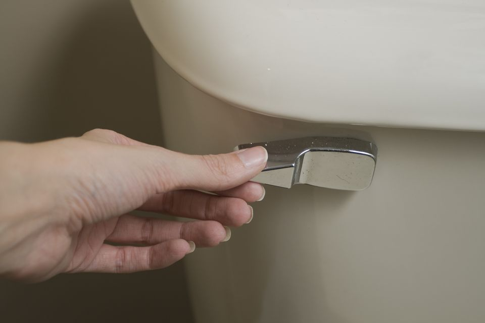 Close-up view of hand about to flush a toilet