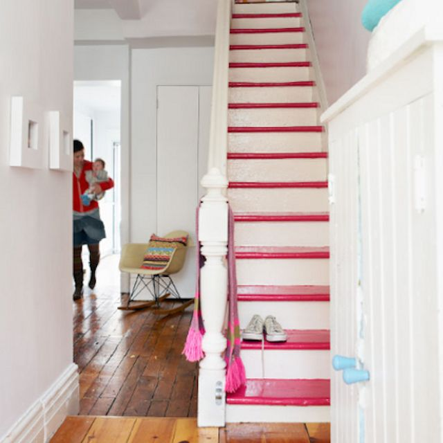 pink painted staircase