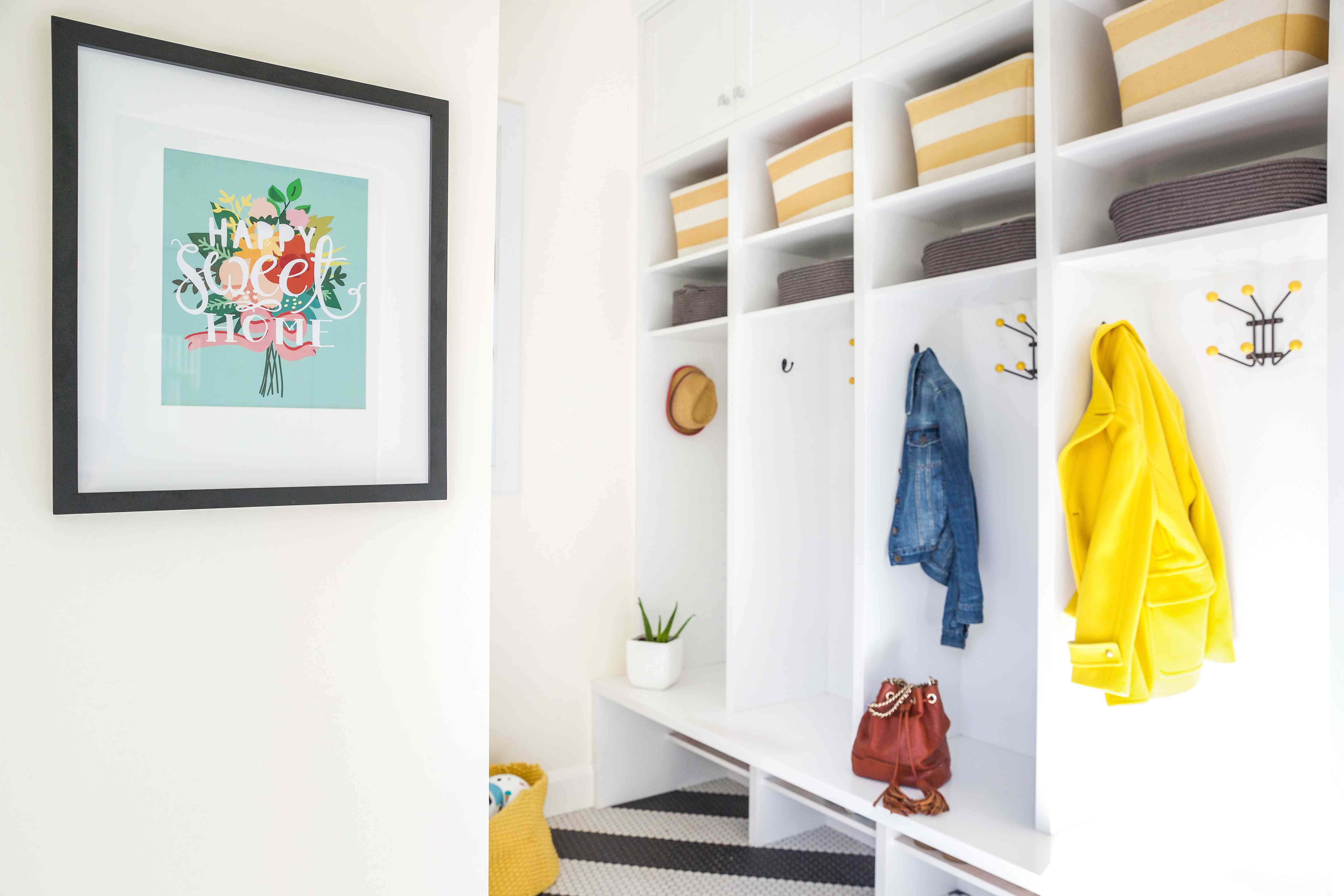 Mudroom with open shelves