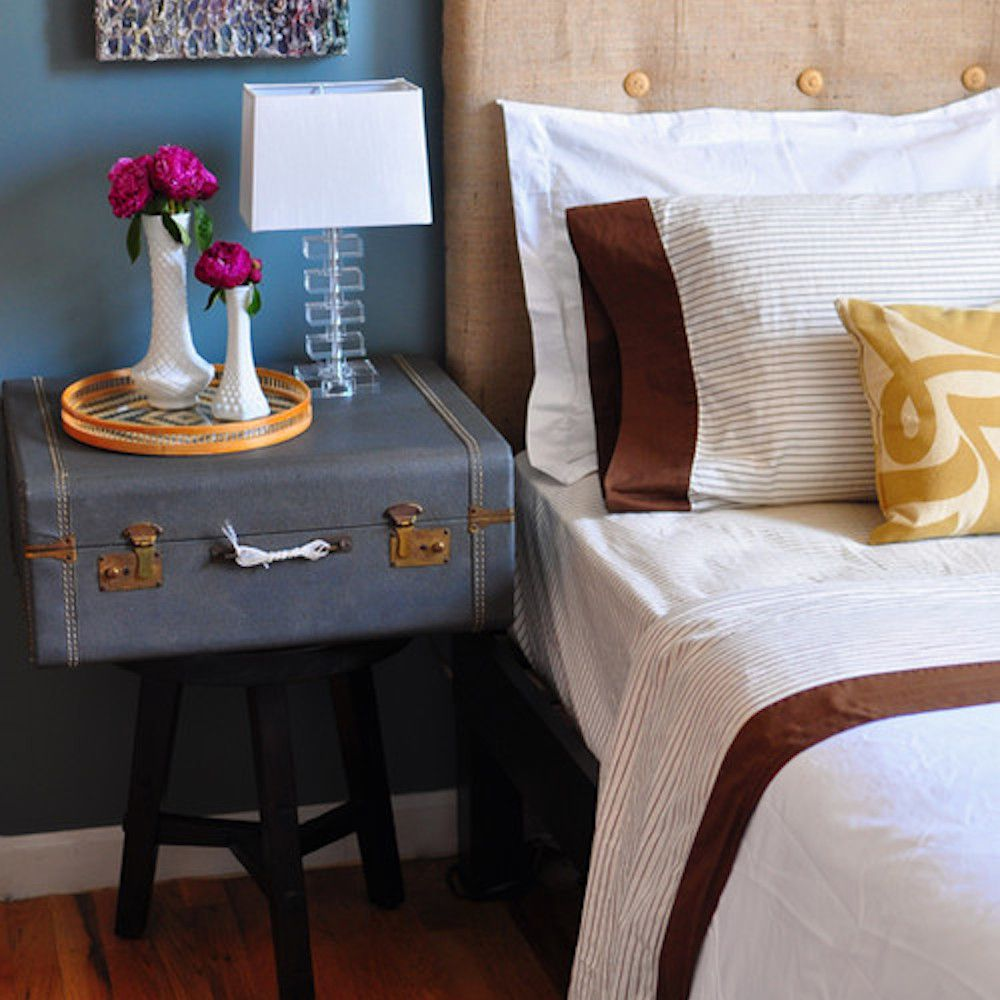 vintage suitcase as end table