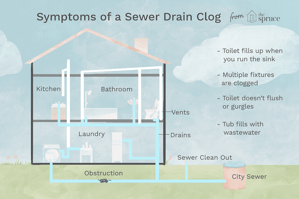 symptoms of a sewer drain clog