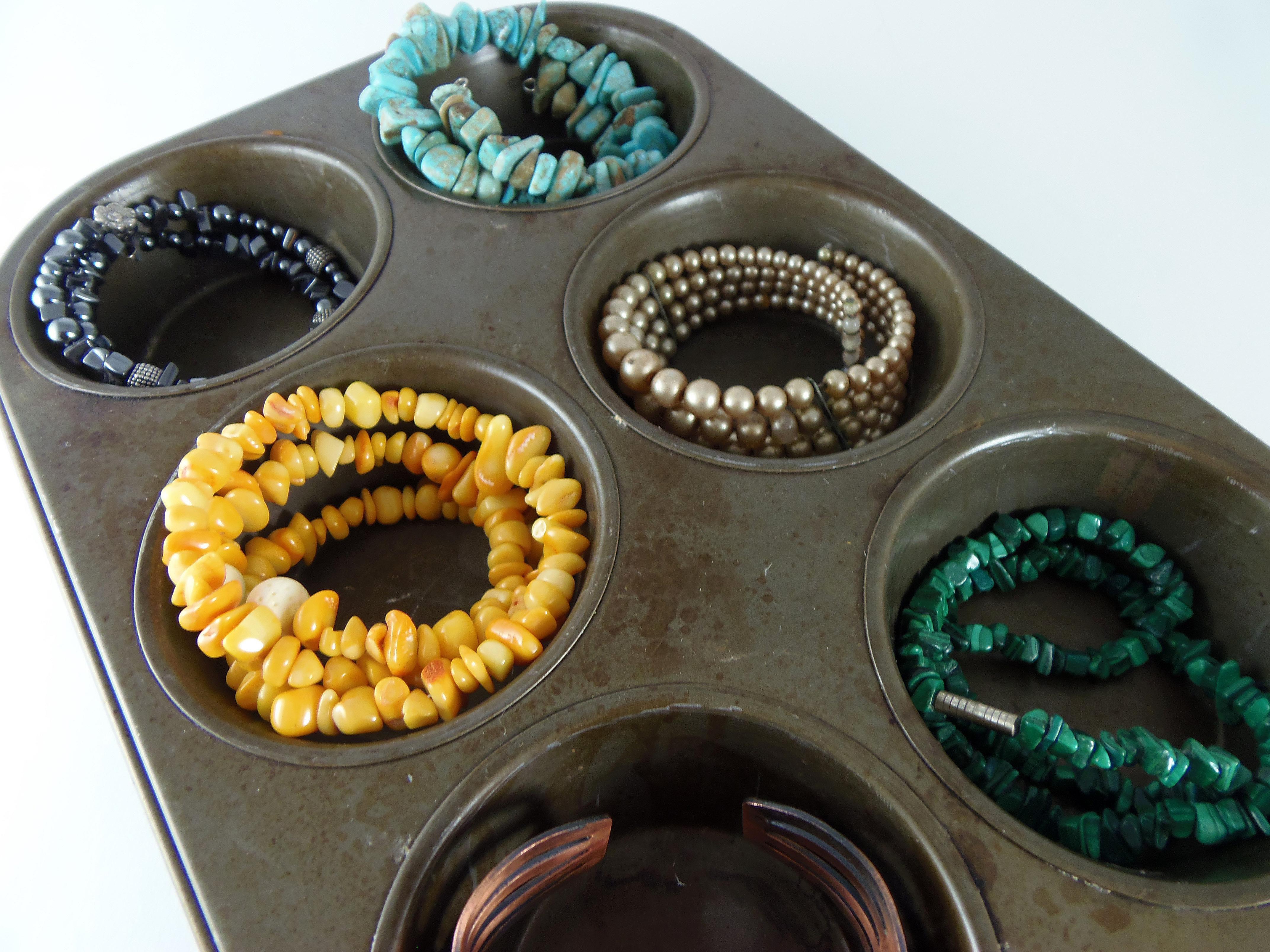 Jewelry stored in muffin tin