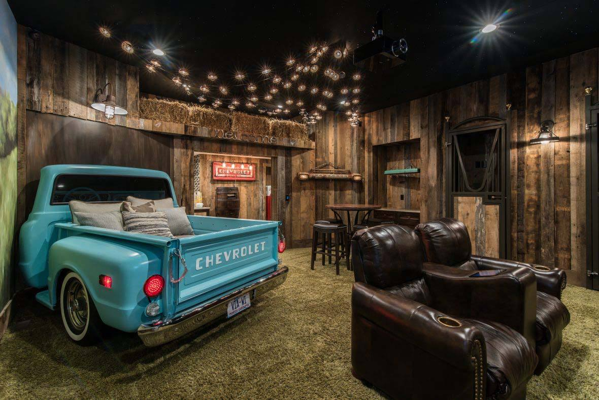 Dad man cave faux drive-in theater