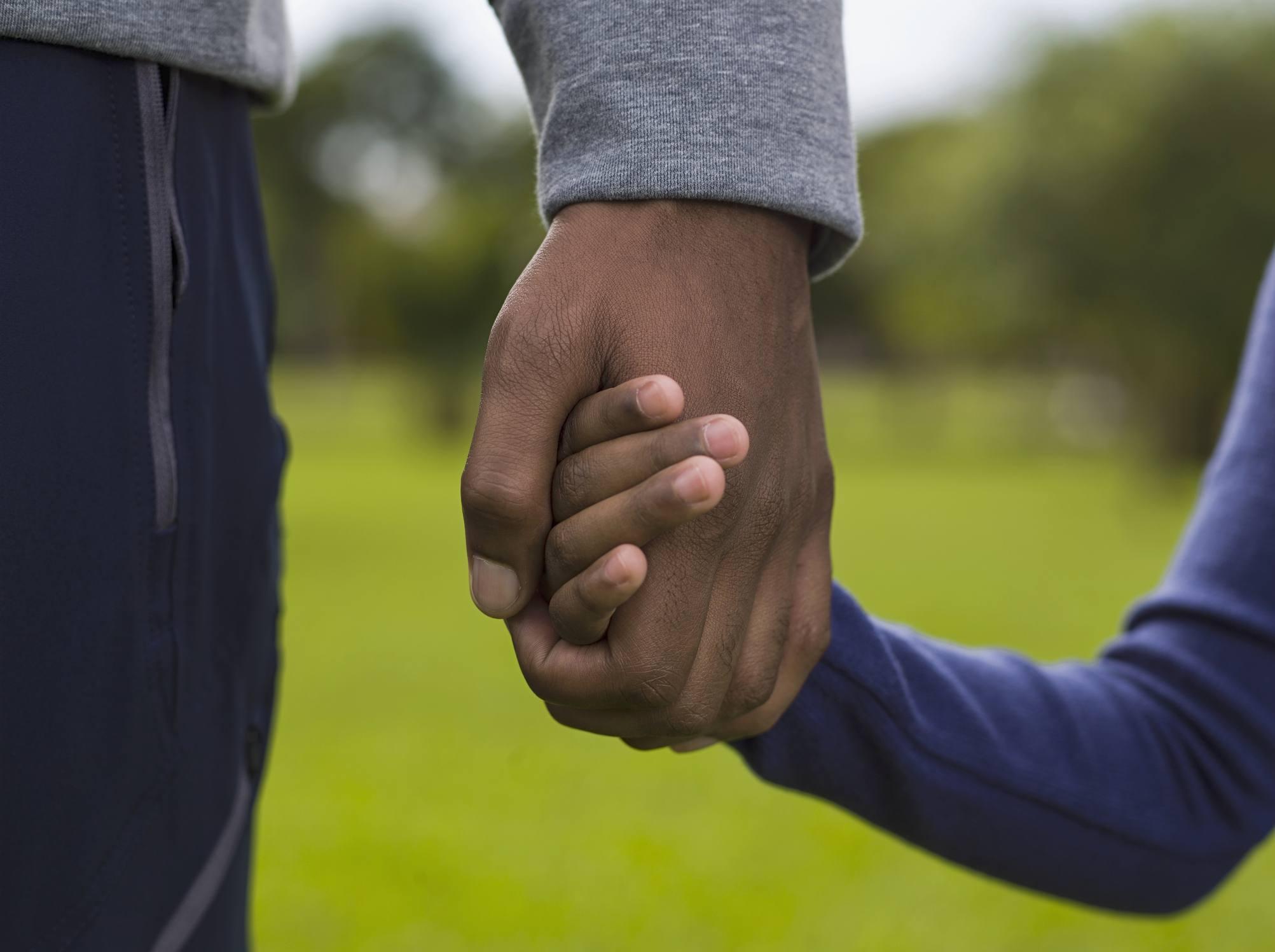 Padre e hija (4-5) tomados de la mano en el parque, sección media