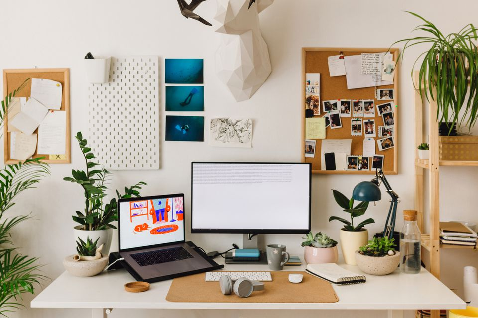 home office setup with plants and decor