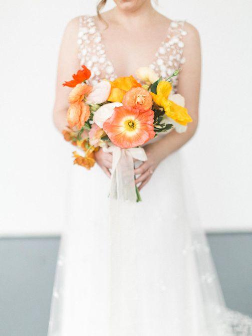 Ramo de novia de verano de amapola
