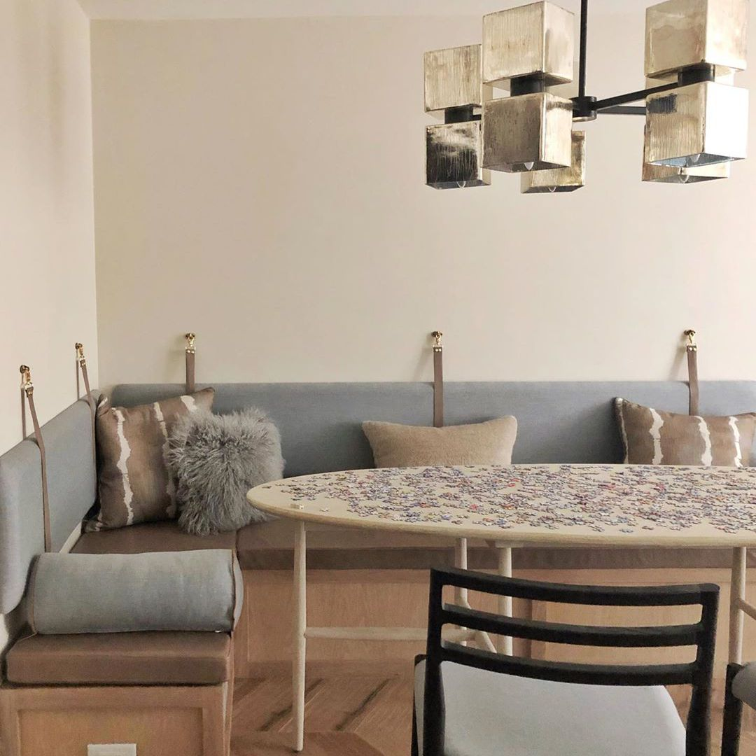 Dining room with a bench seat and neutral colors