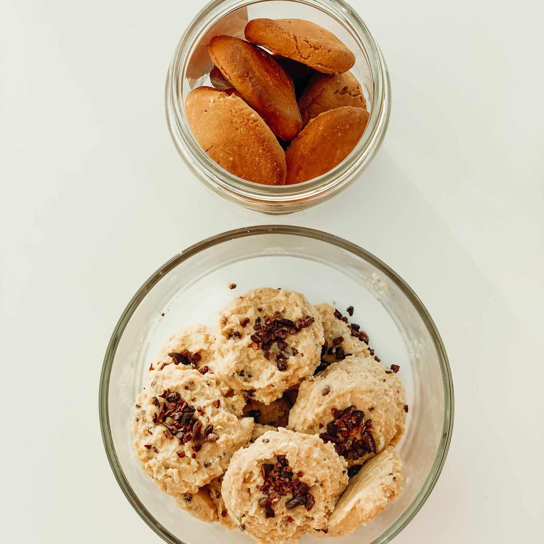 An overhead shot of cookies in a jar