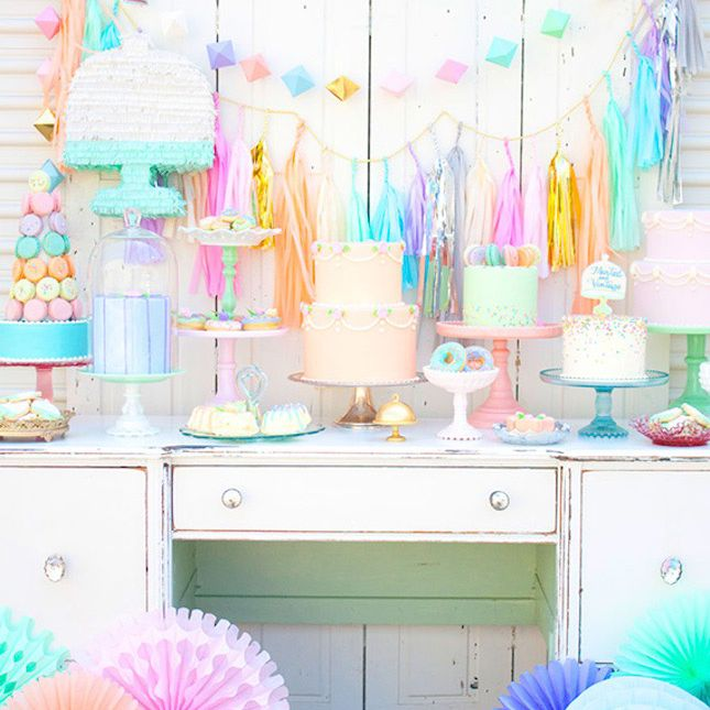 pastel party decor and desserts