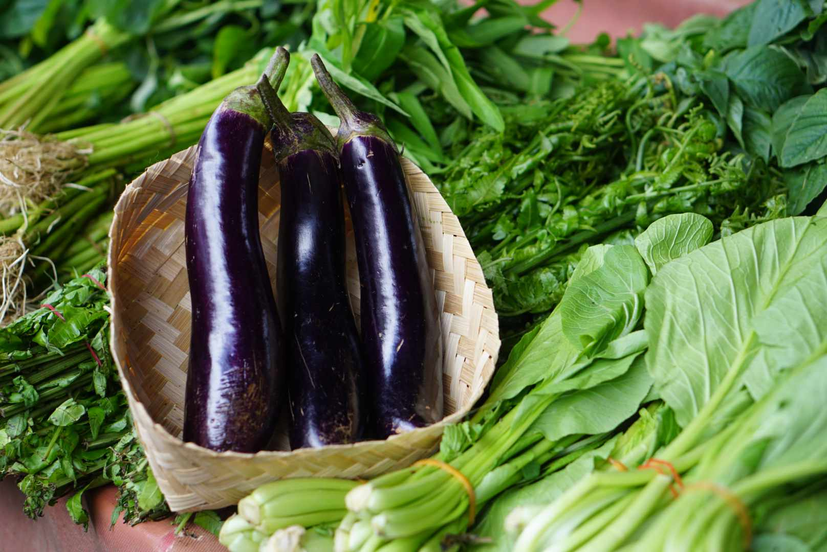 Three long eggplants in woven basket resting on harvested vegetables