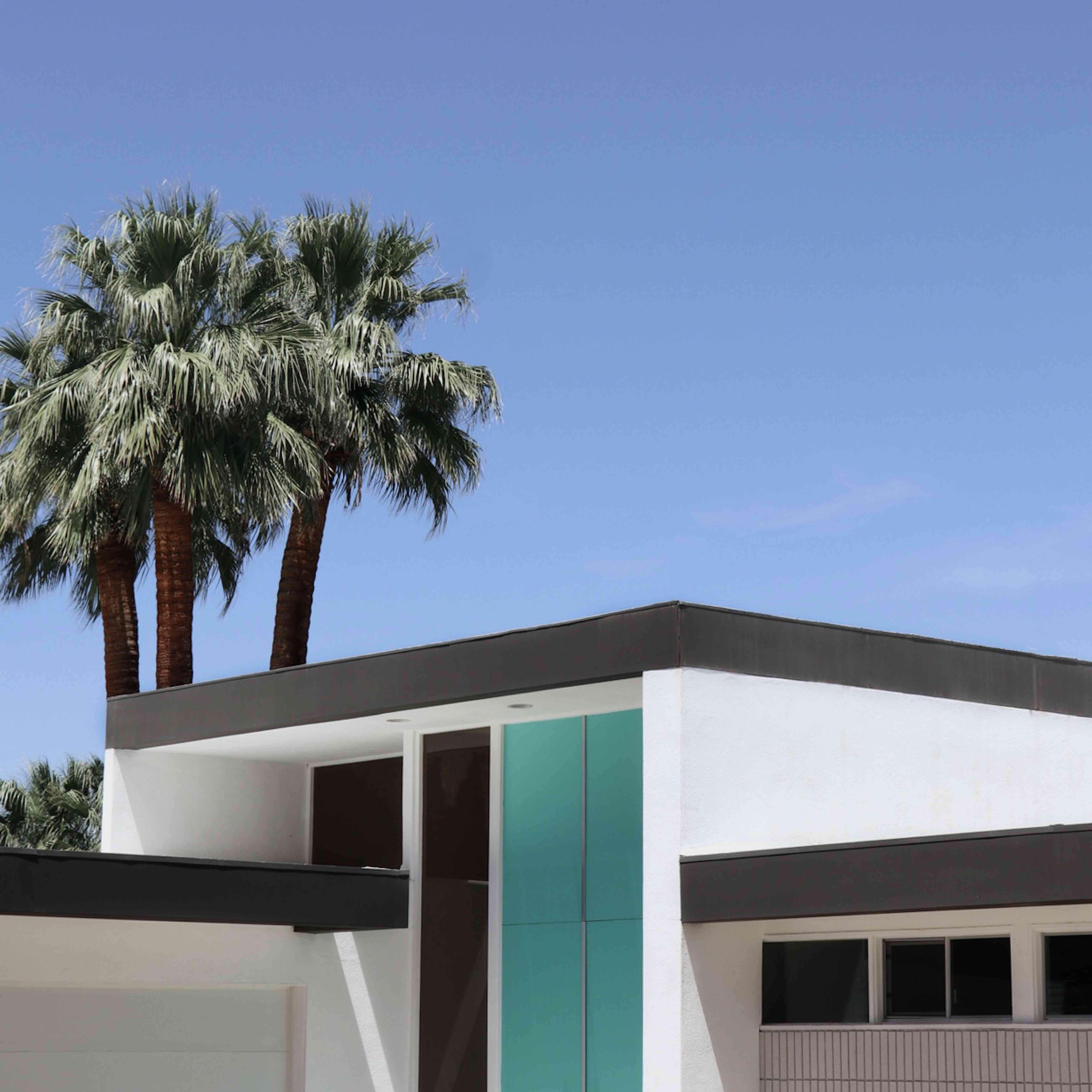 light blue front door of a modern home with palm trees
