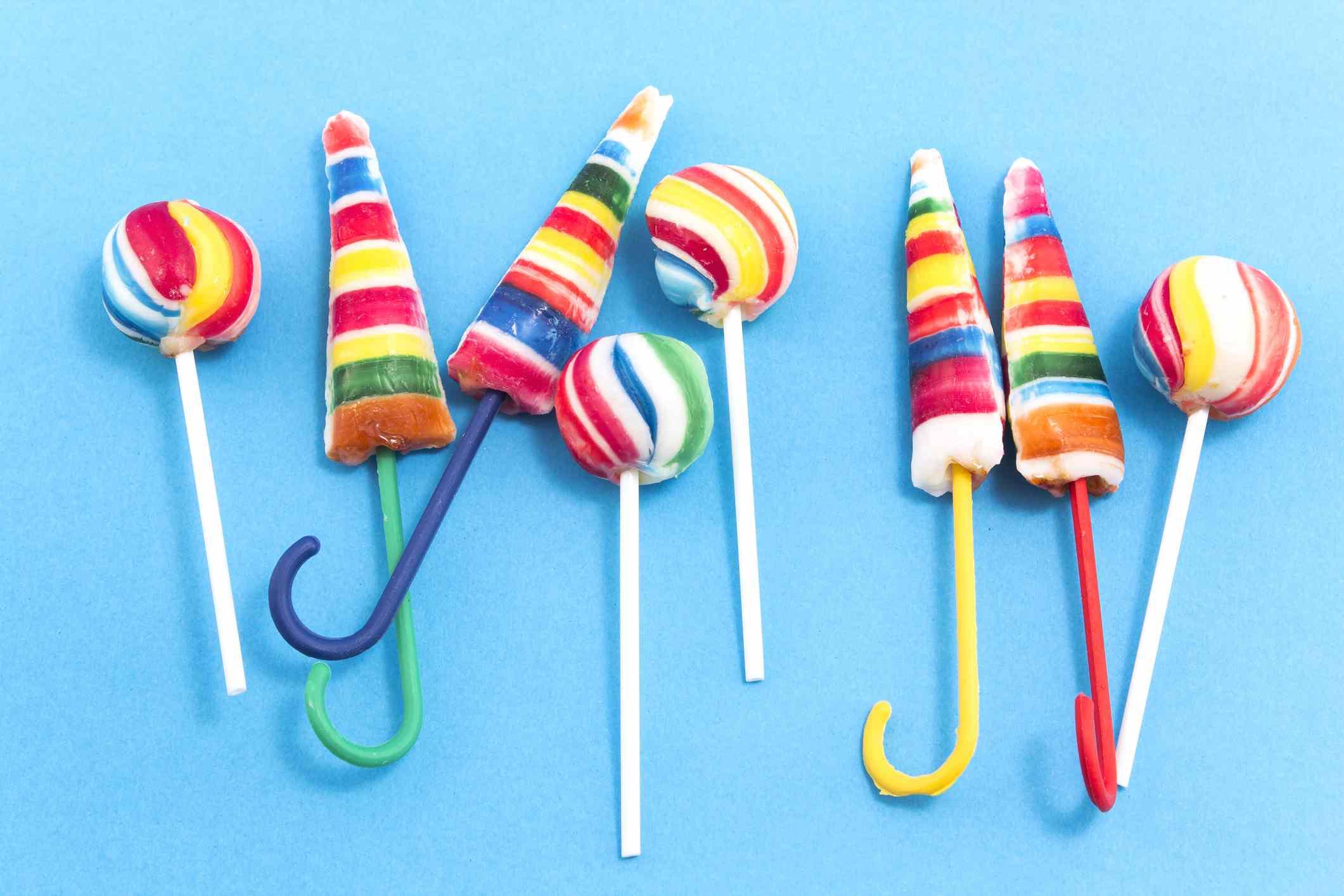 Vintage lollipops on a blue background