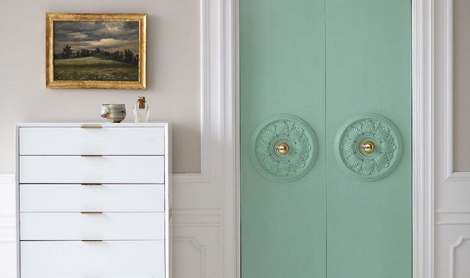 Mint door in white room