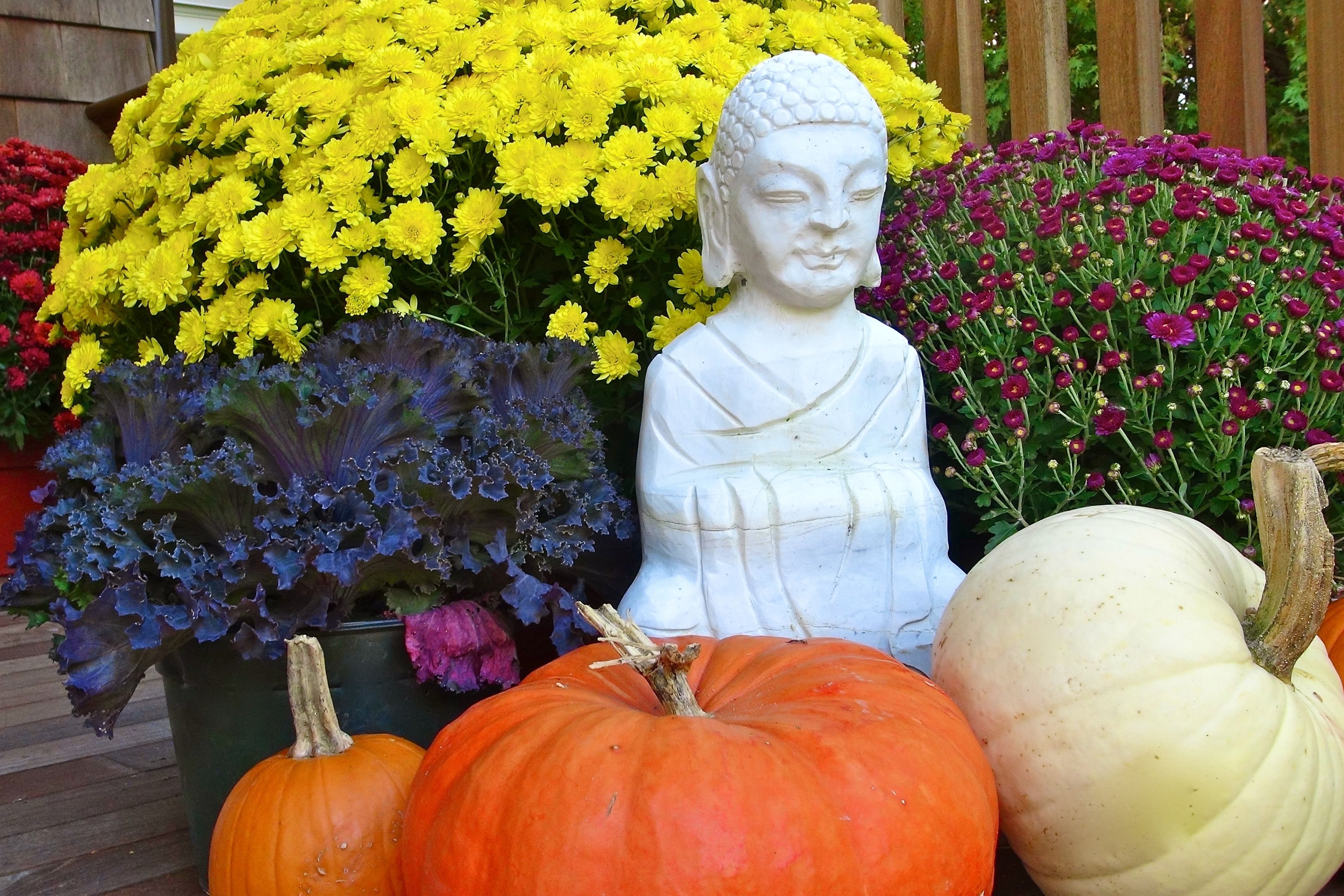 colorful fall flowers front porch with budha