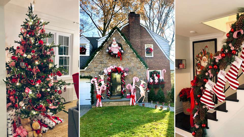 collage of the Sosoo home after Holiday Home Makeover With Mr. Christmas for Netflix