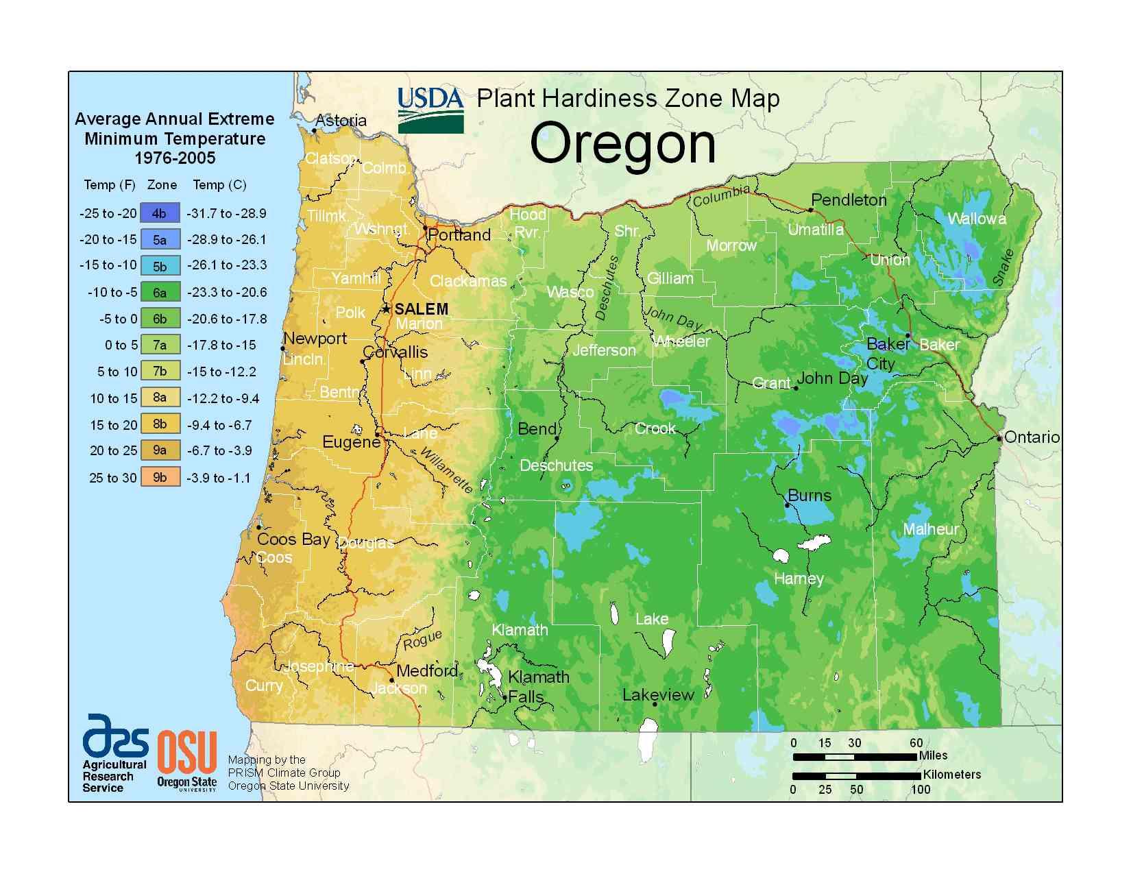 Photo of the Oregon Hardiness Zones